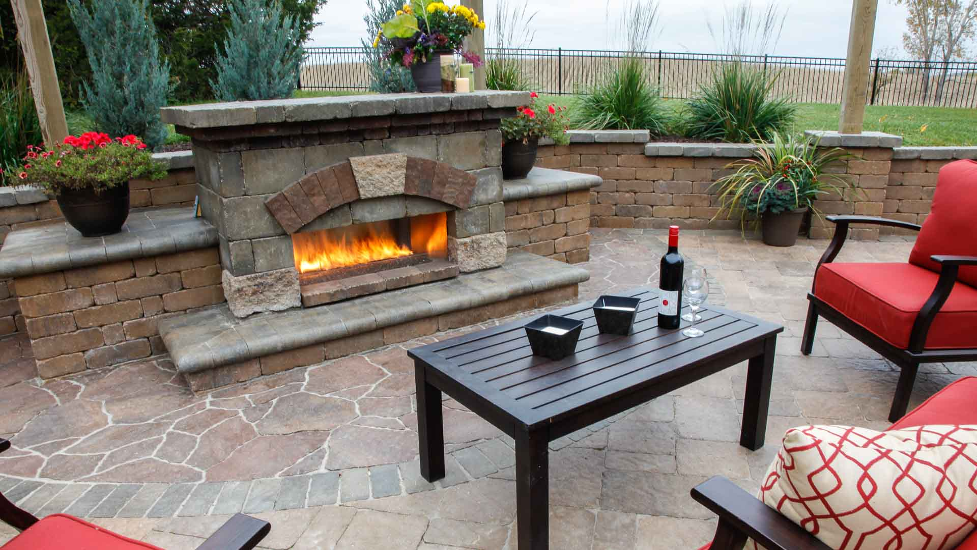 Forever Green Coralville Iowa patio fireplace landscaping iowa city outdoor living