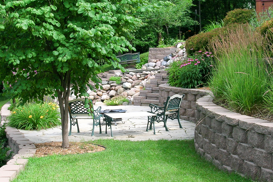 Forever Green Coralville Iowa Patios retaining wall pond plantings