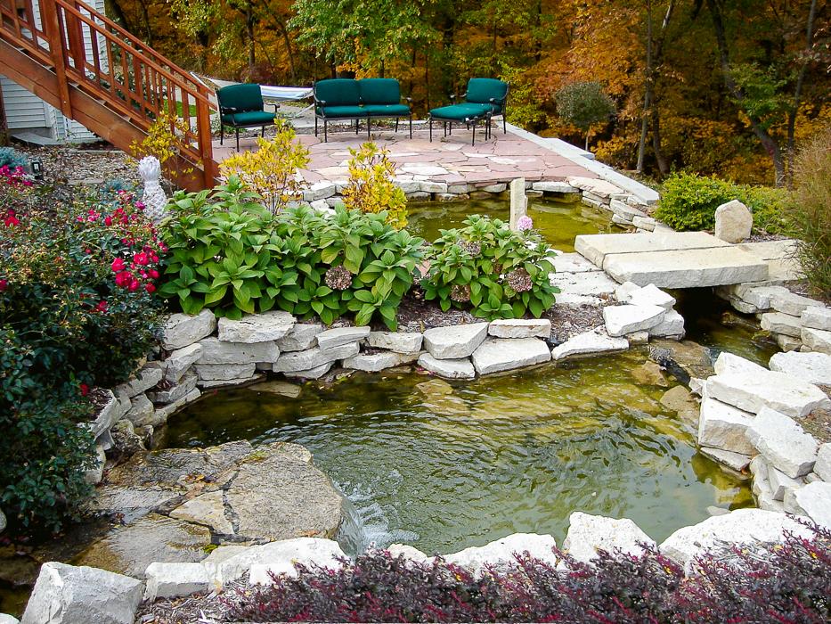 Forever Green Coralville Iowa Water Features pond bridge