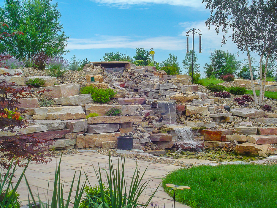 Forever Green Coralville Iowa Water Features pondless waterfall patio