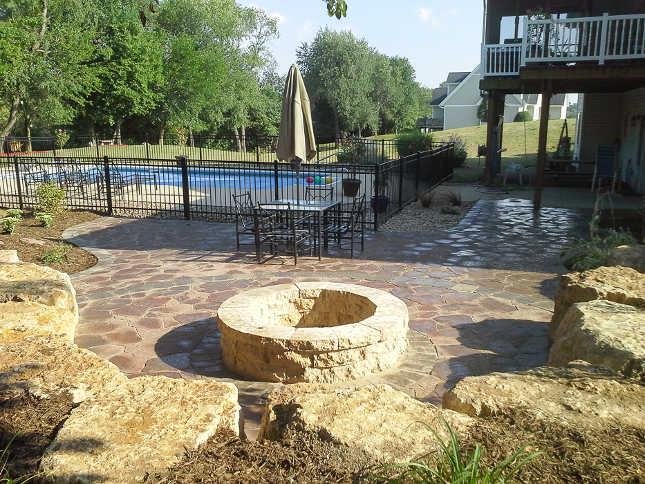 Forever Green Grows Coralville Iowa Fire Pits limestone