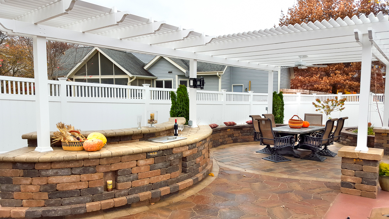 Forever Green Grows Coralville Iowa Fire Pits pergola outdoor kitchen outdoor living