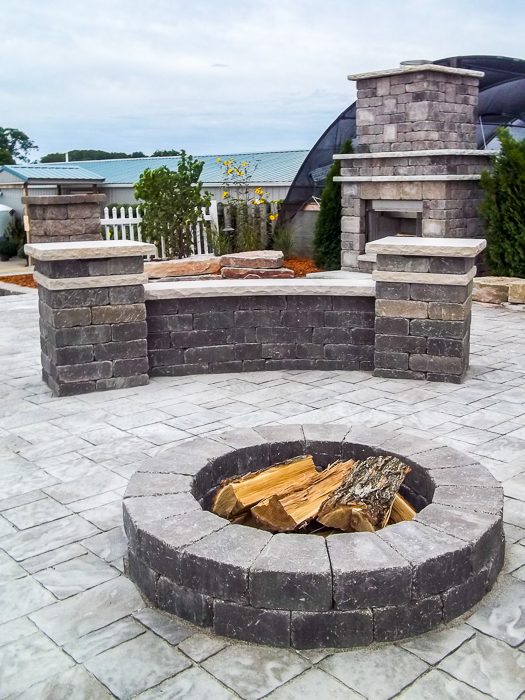 Forever Green Grows Coralville Iowa Fire Pits stone bench