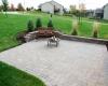 Forever Green Coralville Iowa Fire Pits bench brick patio backyard