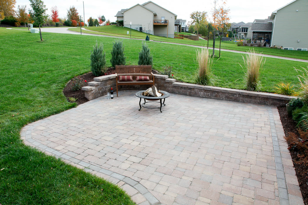Forever Green Coralville Iowa Fire Pits bench brick patio backyard