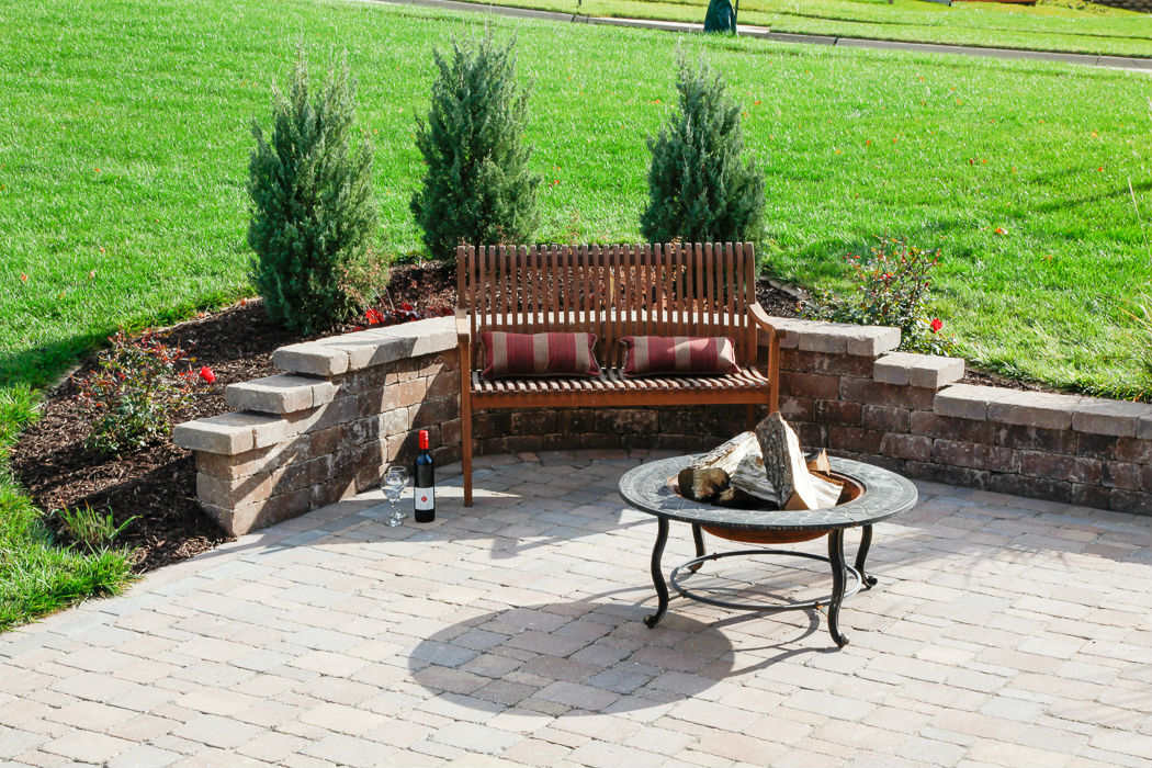 Forever Green Coralville Iowa Fire Pits bench brick plantings