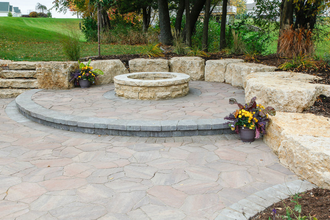 Forever Green Coralville Iowa Fire Pits stone step circle plantings