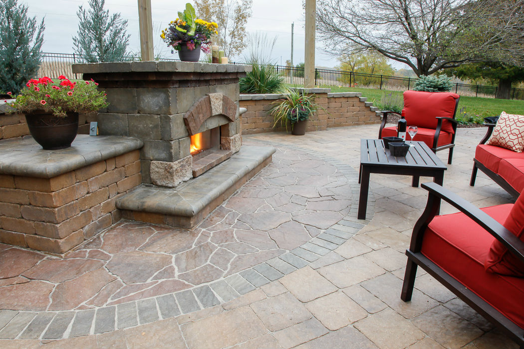 Forever Green Coralville Iowa Patios fireplace outdoor landscaping