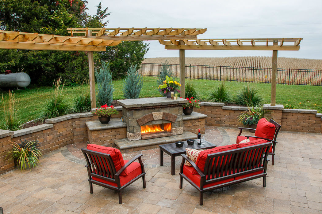 Forever Green Coralville Iowa Retaining Walls brick fireplace pergola plantings