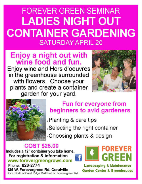 Forever Green Coralville Iowa Ladies Night Out poster